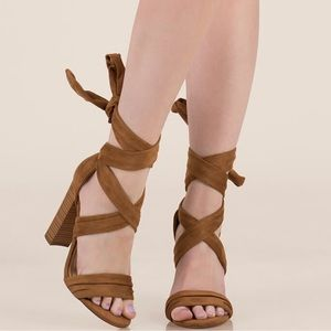 Shoes - Tan Lace-Up Heels